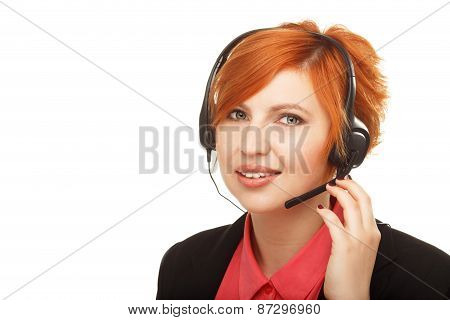 Closeup Portrait Of Female Customer Service Representative Or Call Center Worker Or Operator Or Supp