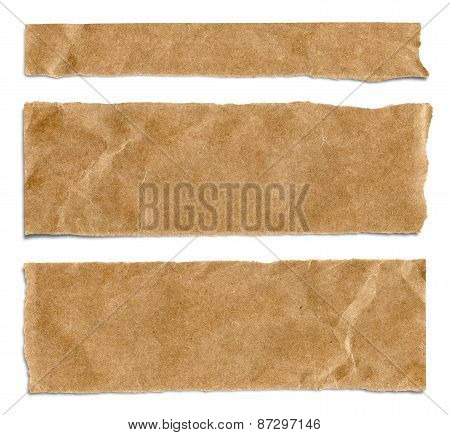 Piece Of Brown Packaging Paper Isolated On White Background With Shadow