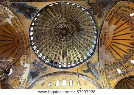 The Hagia Sophia (also Called Hagia Sofia Or Ayasofya) Ornamental Ceiling, Byzantine Architecture, F