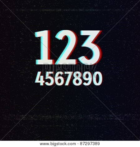 Vector Font with TV Stereo Effect. Numbers