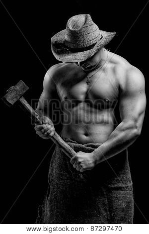 Naked Man With A Hammer