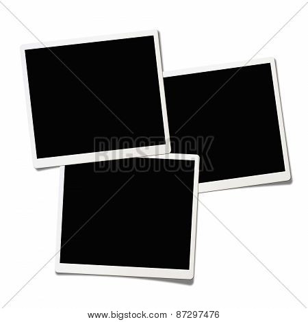 Three Polaroids Isolated On White Background.(clipping Path)
