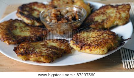 Potato Pancakes (hashbrown) On The White Plate