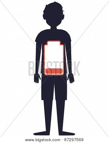 Low battery. Silhouette of man with battery. Vector illustration