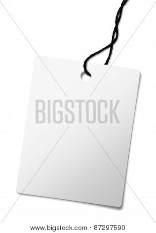 Close Up Of Blank Price Label On White Background
