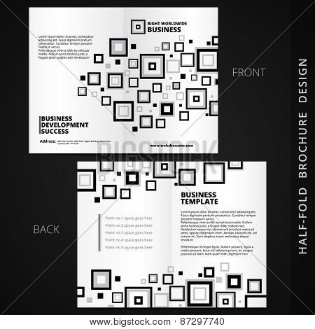 vector bifold brochure design with square elements and space for your text