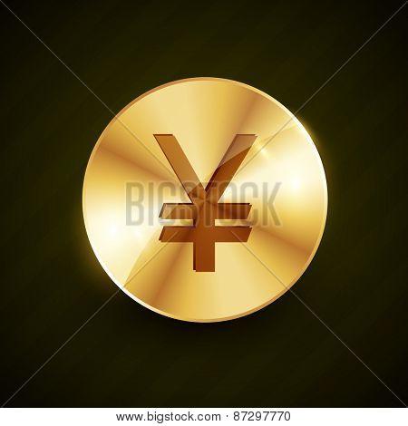 golden yen symbol coin shiny vector design illustration