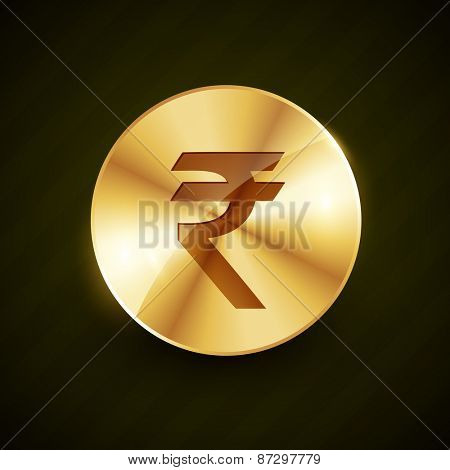 indian rupee gold coin with shiny effects vector illustration