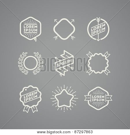 Vector set with simple hipster emblems