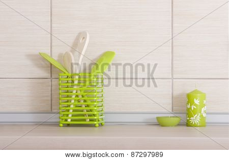 Kitchen Utensils On Countertop