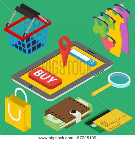 Flat 3d isometric online store e-commerce web infographic concept vector. Internet sale shopping. il