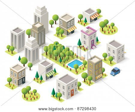 Set of the isometric city buildings, shops and other elements