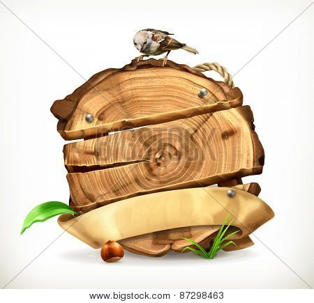 Wooden banner, tree stump vector illustration