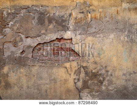 Texture Of Old Wall Covered With Yellow Stucco