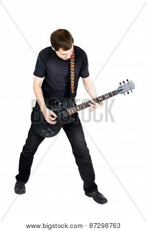 Young Man With An Electric Guitar. Isolated