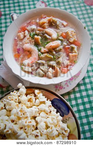 Cebiche, seafood cold soup, typical ecuadorian dish