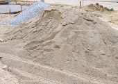 picture of sand gravel  - piles sand and gravel for construction industry - JPG