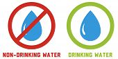 image of non-toxic  - 2 icons and signs for drinking and non - JPG