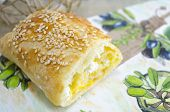 picture of decoupage  - Homemade cheese  pie on a decoupage decorated tray  - JPG