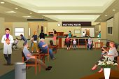 foto of hospital  - A vector illustration of patients waiting in a hospital waiting room - JPG