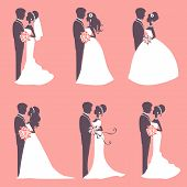image of bridal veil  - Illustration of Six wedding couples in silhouette in vector format - JPG