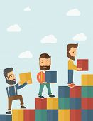 stock photo of going out business sale  - Three hipster Caucasian men with beard carrying blocks putting one by one going up as a sign of increasing sales - JPG