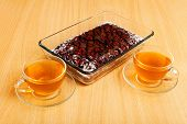 stock photo of cherry pie  - Two cup of tea and brownie  - JPG
