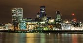 pic of london night  - London night skyline looking across the Thames towards The City.