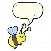 stock photo of bee cartoon  - cartoon happy bee with speech bubble - JPG