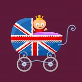 pic of baby toddler  - English royal baby in baby carriage with British flag - JPG