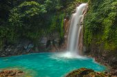 picture of waterfalls  - Rio Celeste Waterfall photographed in Costa Rica - JPG