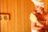 pic of sauna woman  - Spa beauty treatment and relaxation concept - JPG