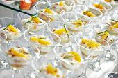image of catering  - catering services background with snacks on guests table in restaurant at event party - JPG