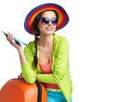 foto of boarding pass  - portrait of female tourist with travel suitcase and boarding pass - JPG