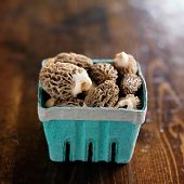 stock photo of morel mushroom  - basket of moral mushrooms on wooden table - JPG