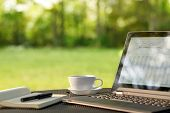 pic of outdoor  - Laptop and coffee - JPG