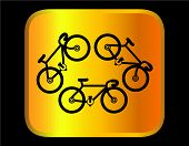 pic of tandem bicycle  - bicycle icon on a gold background - JPG