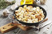 picture of roast chicken  - Roasted cauliflower with chicken in the frying pan - JPG