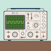 foto of analogy  - Vector illustration of one analog CRO oscilloscope - JPG