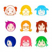stock photo of teen pony tail  - Colorful little girl head icons in anime style - JPG