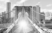 stock photo of brooklyn bridge  - Brooklyn Bridge in New York City old black and white film style USA.