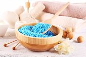 stock photo of sea life  - Spa still life with color sea salt on wooden table - JPG