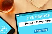 picture of python  - Tablet with a Python Developer on job search site - JPG