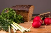 stock photo of radish  - Black bread radishes parsley onion and dill - JPG