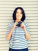 stock photo of big-girls  - picture of happy teenage girl in big headphones - JPG
