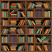 stock photo of book-shelf  - background of library book shelf - JPG