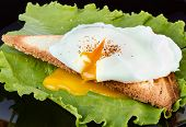 stock photo of butter-lettuce  - Toast with lettuce and poached egg on a black plate for breakfast - JPG