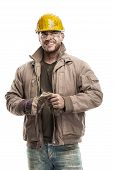 picture of hard-on  - Young dirty Worker Man With Hard Hat helmet 