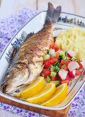 stock photo of mashed potatoes  - Fried fish served with mashed potato - JPG