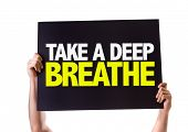 stock photo of breath taking  - Take a Deep Breathe card isolated on white - JPG